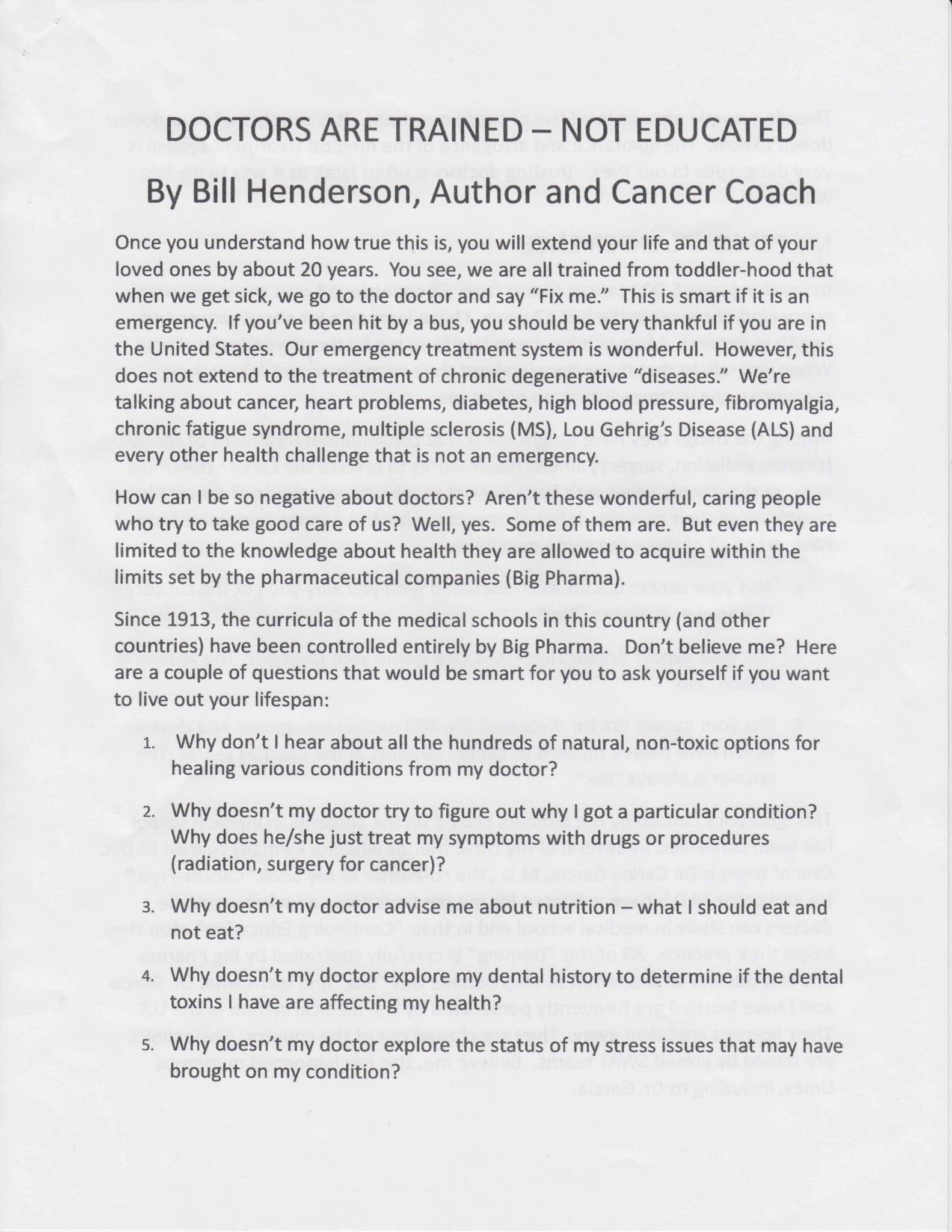 Bill Henderson – Cancer Coach